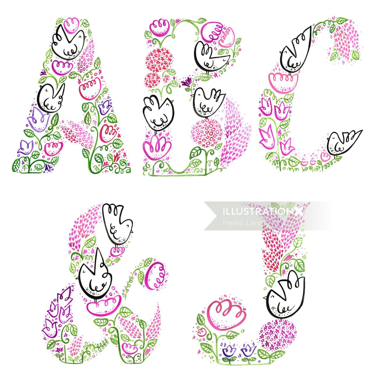 Illustration of decorative lettering