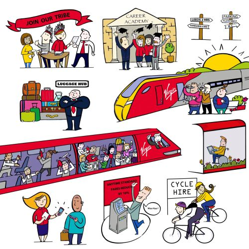an art work illustrating the trains of virgin