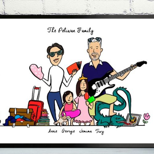 Illustration of a family on a vacation