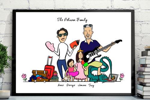 Ilustração de uma família de férias