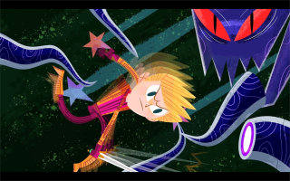 An illustration of kid fighting with monster