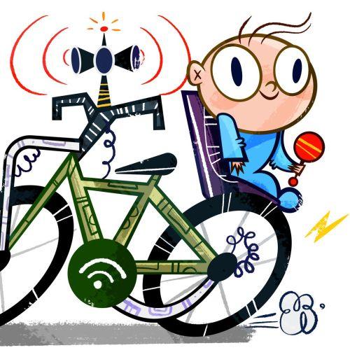 Little kid on bicycle illustration