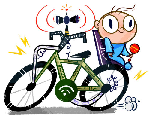 Little kid on bicycle illustration