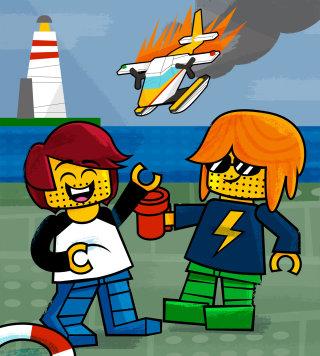 Cartoon illustration of lego characters