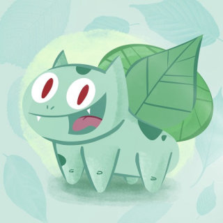 Cartoon illustration of Bulbasaur