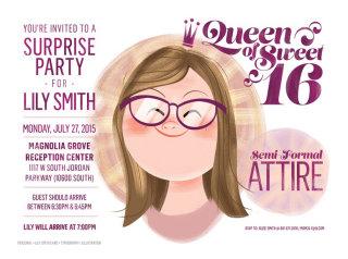 Cartoon illustration of Queen of sweet sixteen