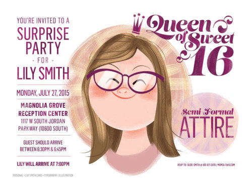 Cartoon illustration of Queen of sweet sixteen