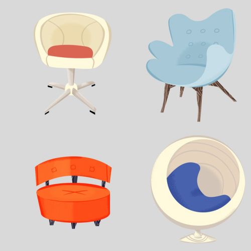 Vector art of various chairs