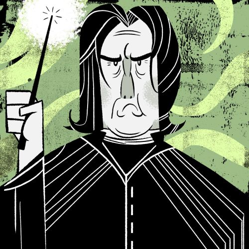 Cartoon illustration of Snape