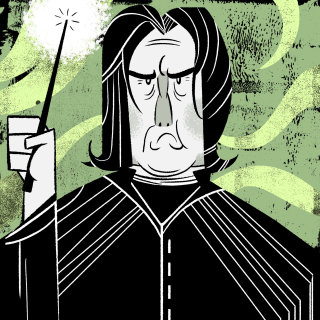 Cartoon illustration of Snape