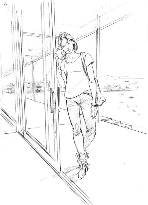 Line art of girl standing outside door