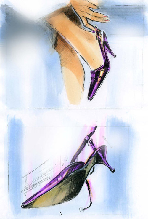 Watercolor painting of blue sandals heels