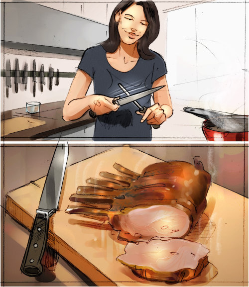 Food illustration of women in kitchen