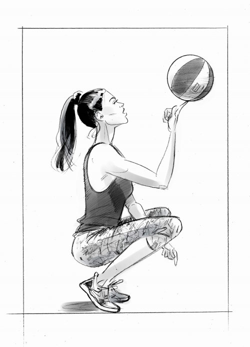 Black and white art of woman playing with ball