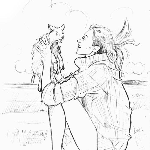 Line art of girl with cat