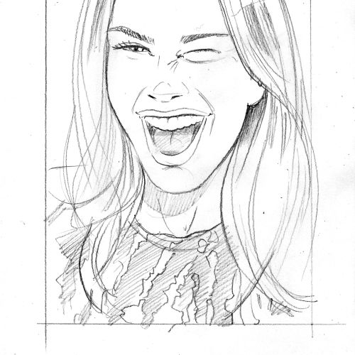 Line art of laughing women