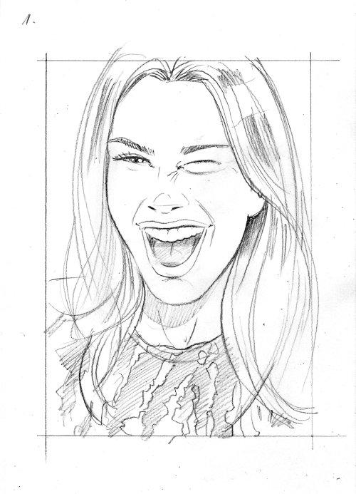 Line art of laughing women