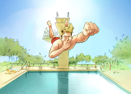 Sports illustration of diving into pool