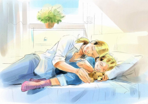 Digital painting of mother love illustration