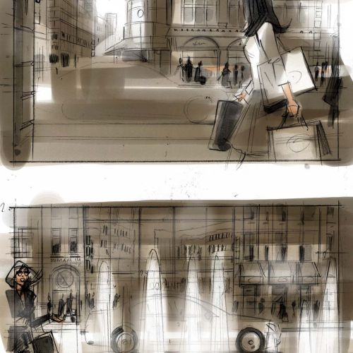 Architecture illustration of shopping mall