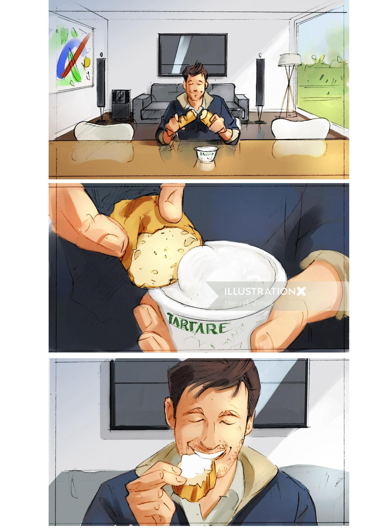 Storyboard illustration of cup of tea with bread