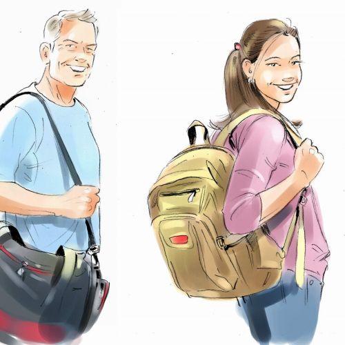 art of men and girl holding bag