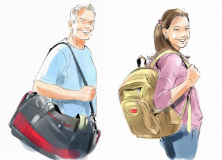 art of men and girl holding bag