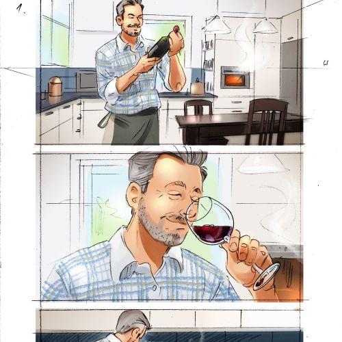 Storyboard illustration of glass of rose wine in dinner