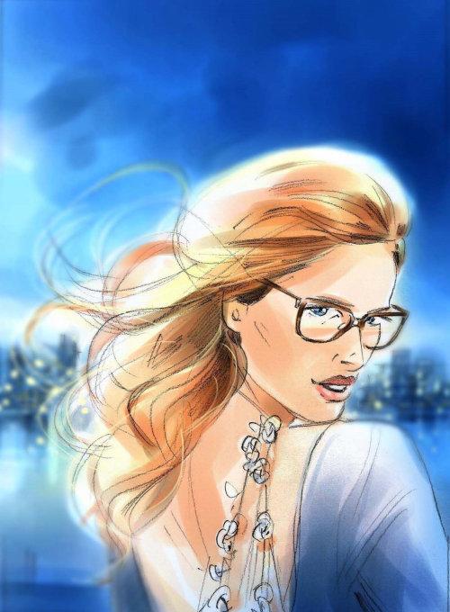 Watercolor portrait of golden hair girl