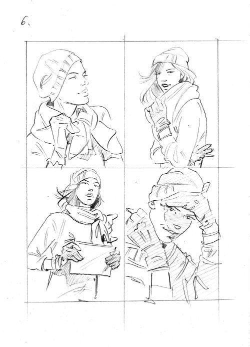 Fashion illustration of girl in winter dresses