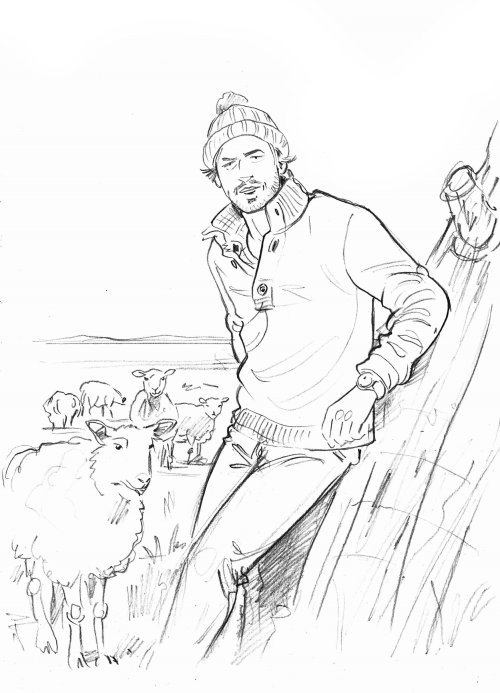 Line art of man with sheep