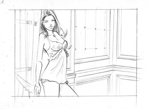 Arte lineal de pose de pie de chica sexy
