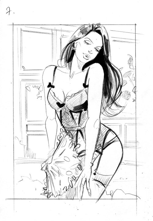 Line fashion illustration of girl in swim suite