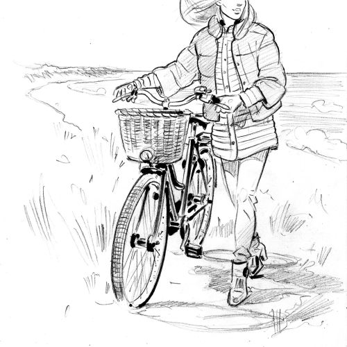 Black and white art of girl cycling