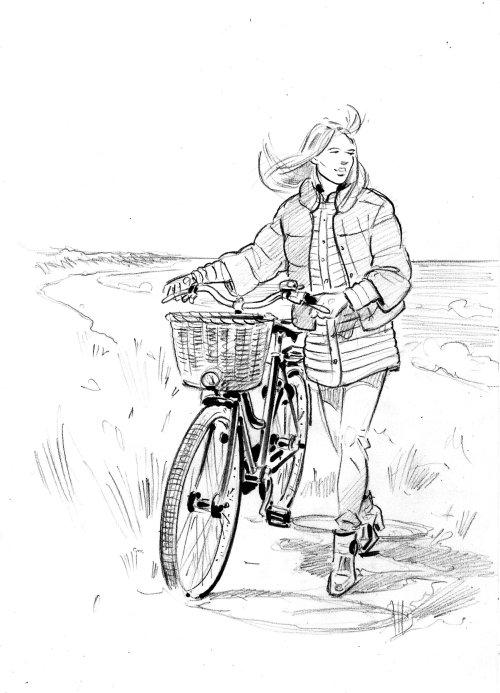 女孩骑自行车的黑白艺术