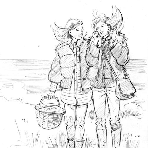 Line art of girl friends illustration