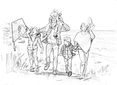 Sketch art of family walking