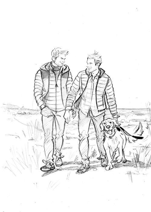 Line art of boy friends illustration