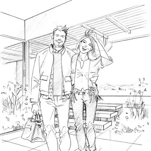 Sketch drawing of couples