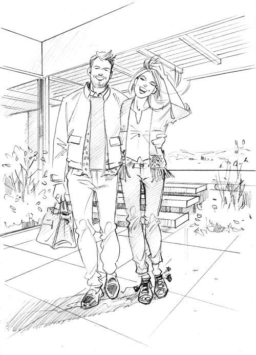 Desenho de esboço de casais