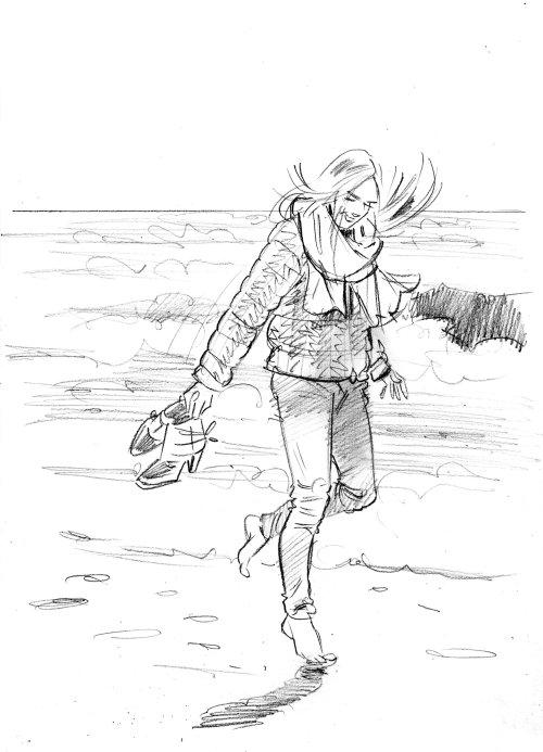Pencil drawing of girl walking on beach