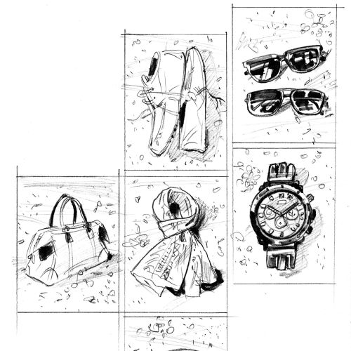 Black and white drawing of fashion accessories