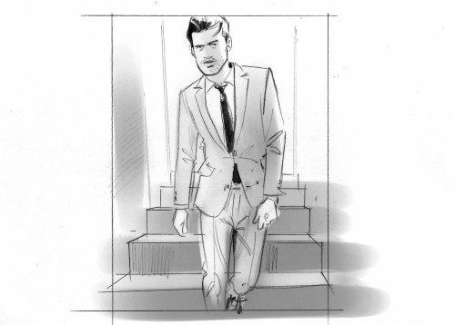 Sketch art of man in suit