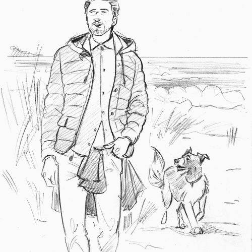Paper drawing of man with dog