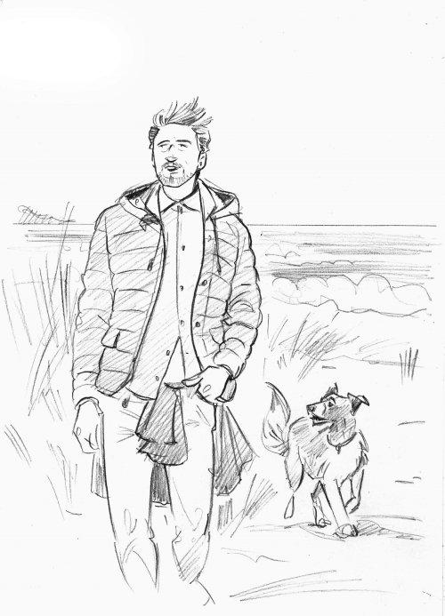 人与狗的纸画