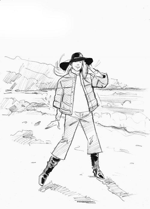 女士牛仔服装的纸画
