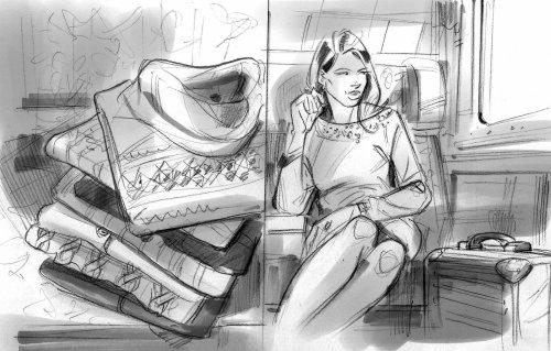 Sketch art of women clothes fashion