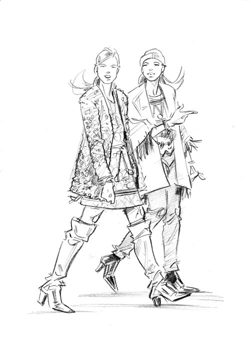 Sketch art of women vintage fashion