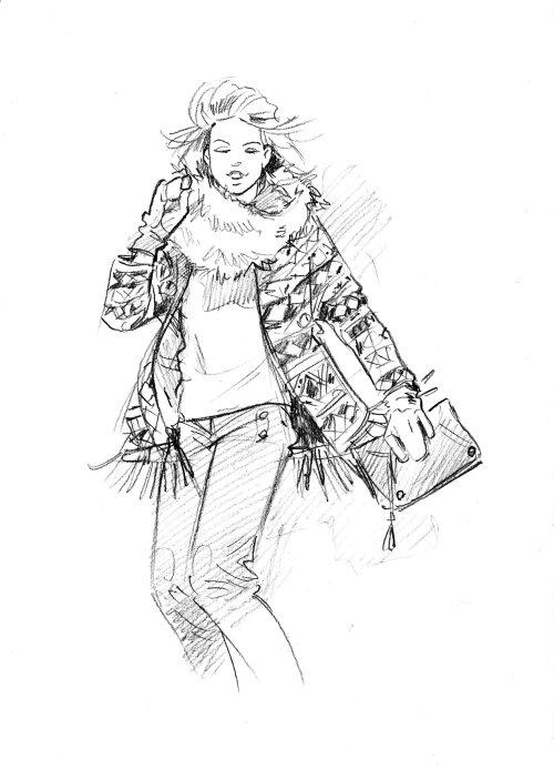 Fashion illustration of girl in floral dress