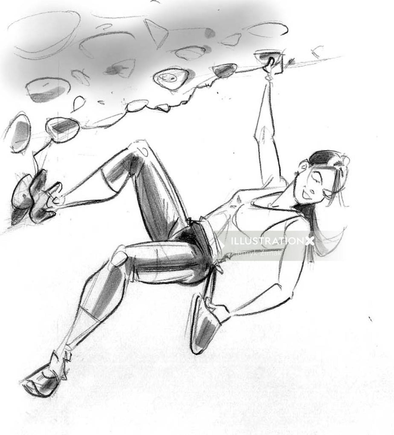 Sports illustration of  girl hill climbing